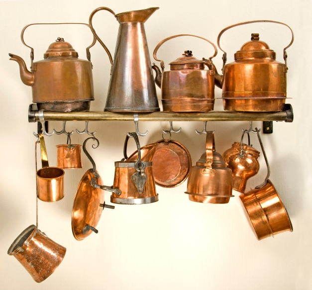 Old copper kitchenware